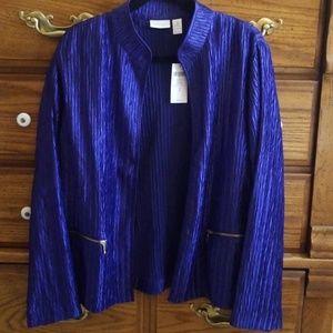 CHICO'S Blue Crinkle Jacket